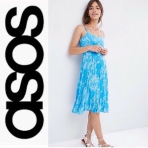 ASOS Floral Pleated Dress in Blue